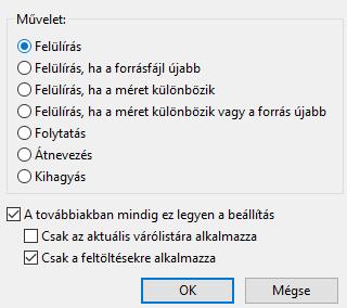 Filezilla a fájlok felülírása a beállítás megtartásával.