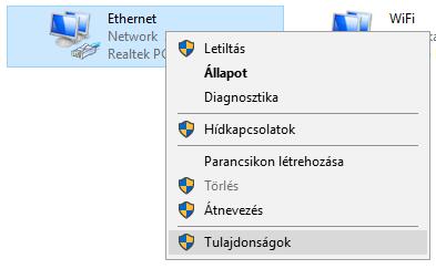 Ethernet tulajdonságok kiválasztása
