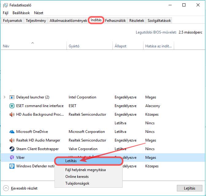Windows 10 automatikusan induló program letiltása