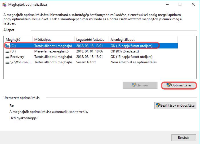 A meghajtó töredezettség mentesítése windows 10 meghajtó optimalizálása