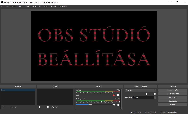 OBS studio beállítása