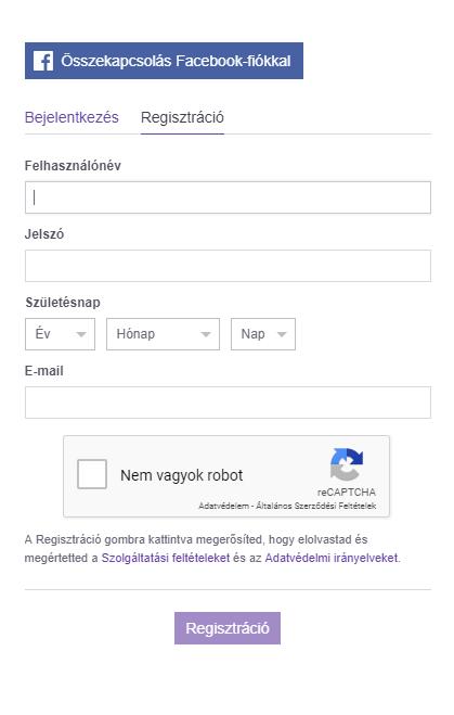 regisztráció a twitch-en
