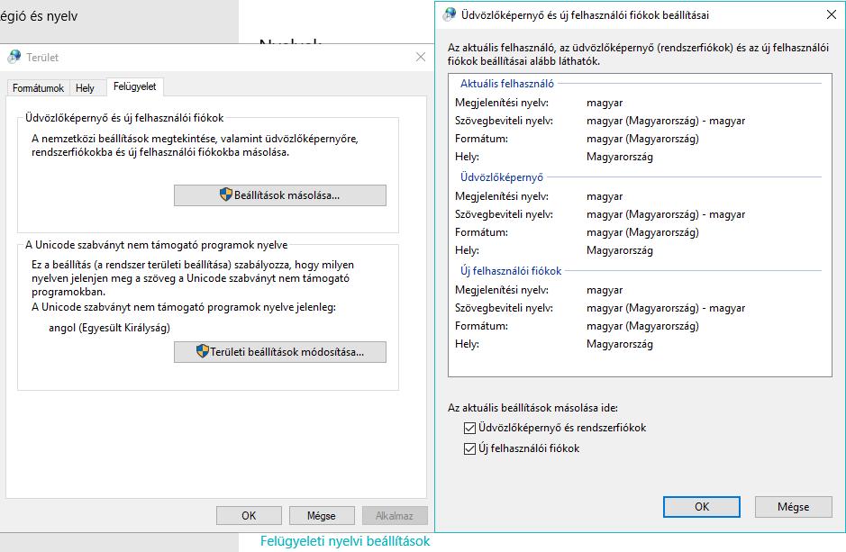 Windows 10 magyarítása felügyeleti nyelvi beállítások