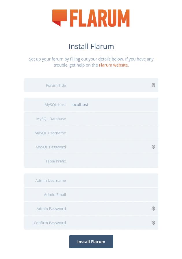 flarum telepítési képernyő