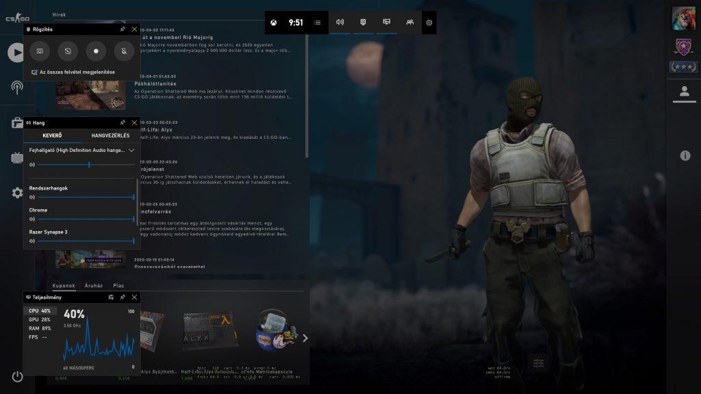 Windows Xbox Game Bar, az integrált felvevő program