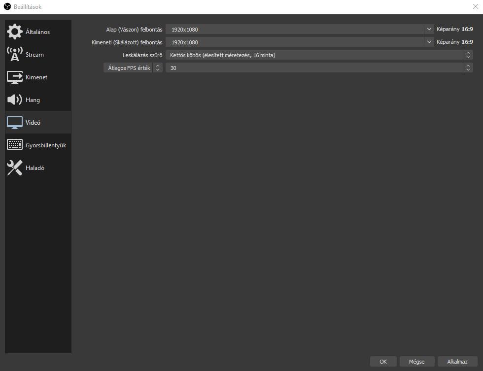OBS Studio beállítások -> Videó fül