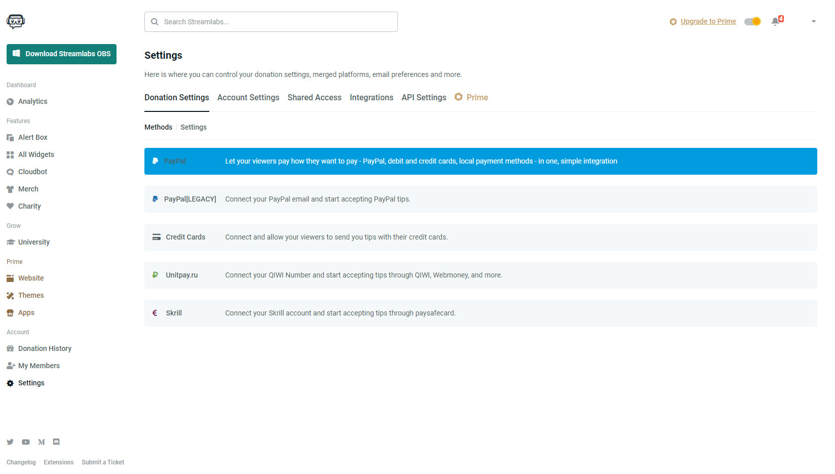 Streamlabs Donation Settings kifizetés beállításai