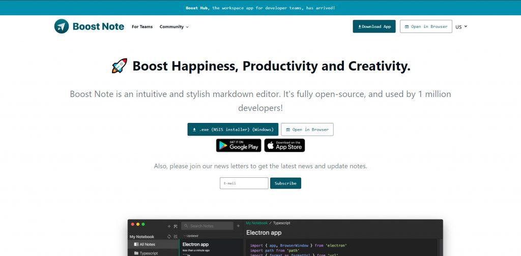 BoostNote fejlesztői, programozói jegyzetek weboldala