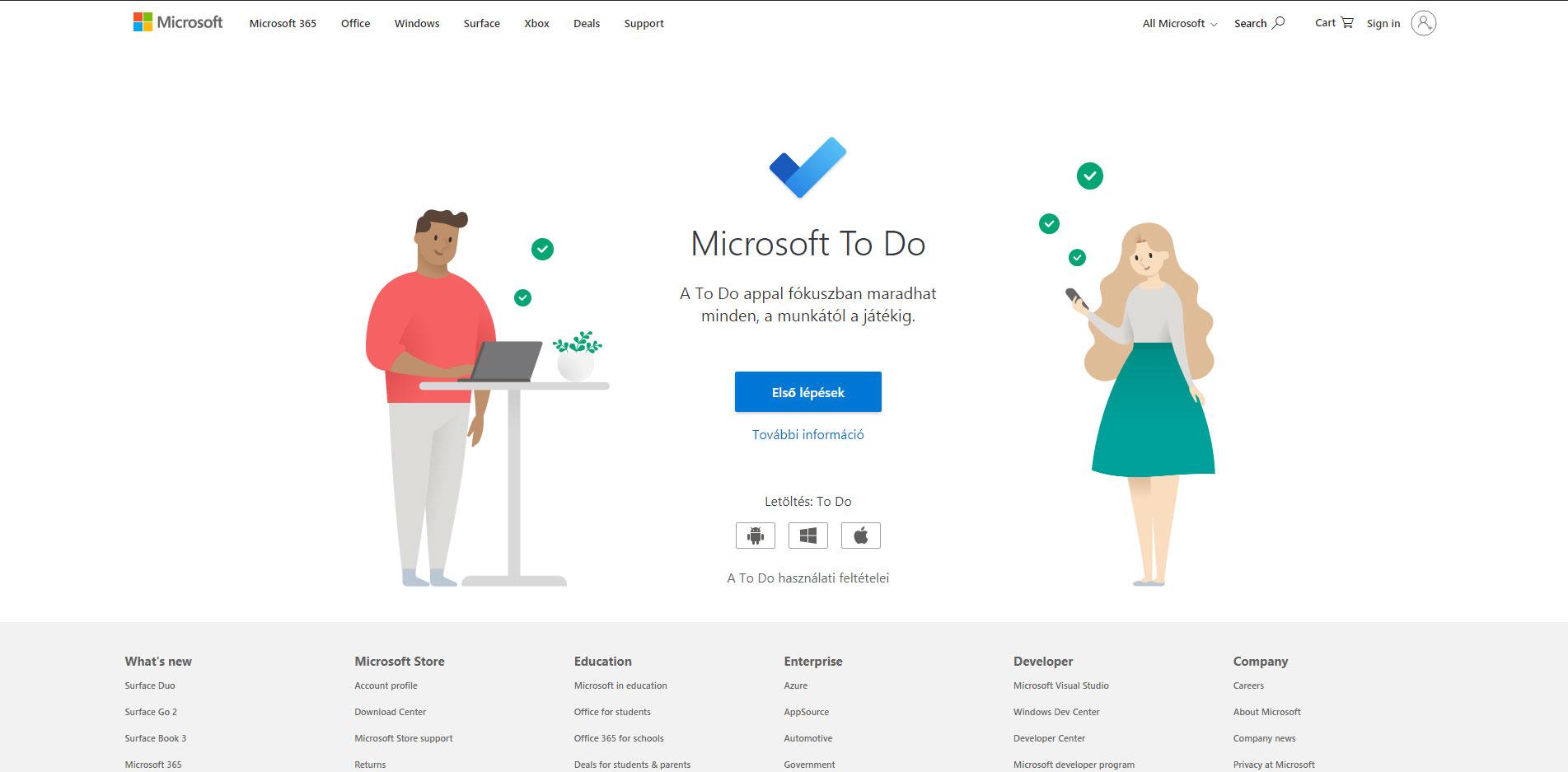 Microsoft To Do feladatok felírása weboldala