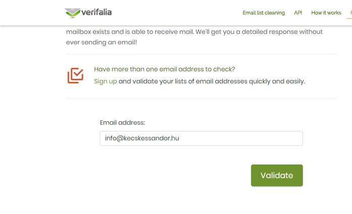 Email cím ellenőrzése