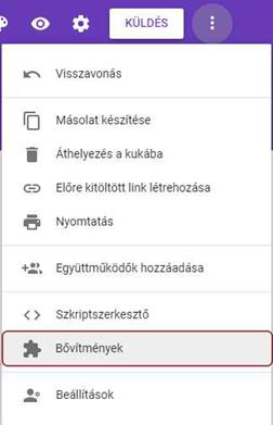 Hol található a google forms bővítmény lehetőség?