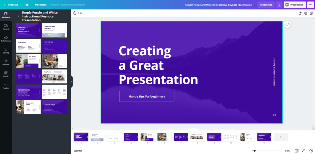 Canva prezentáció szerkesztő felület