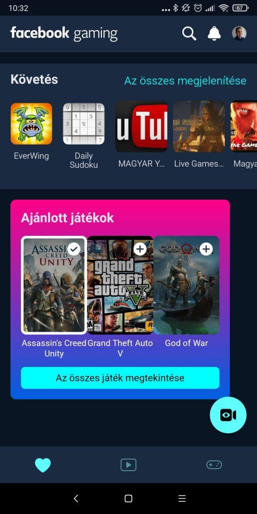 Facebook Gaming alkalmazás felülete