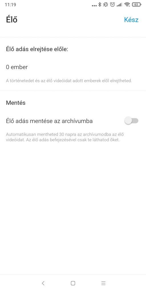 Instagram Live archívumba mentése