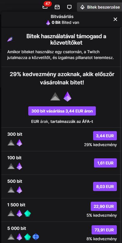 Twitch Bit-ek vásárlása