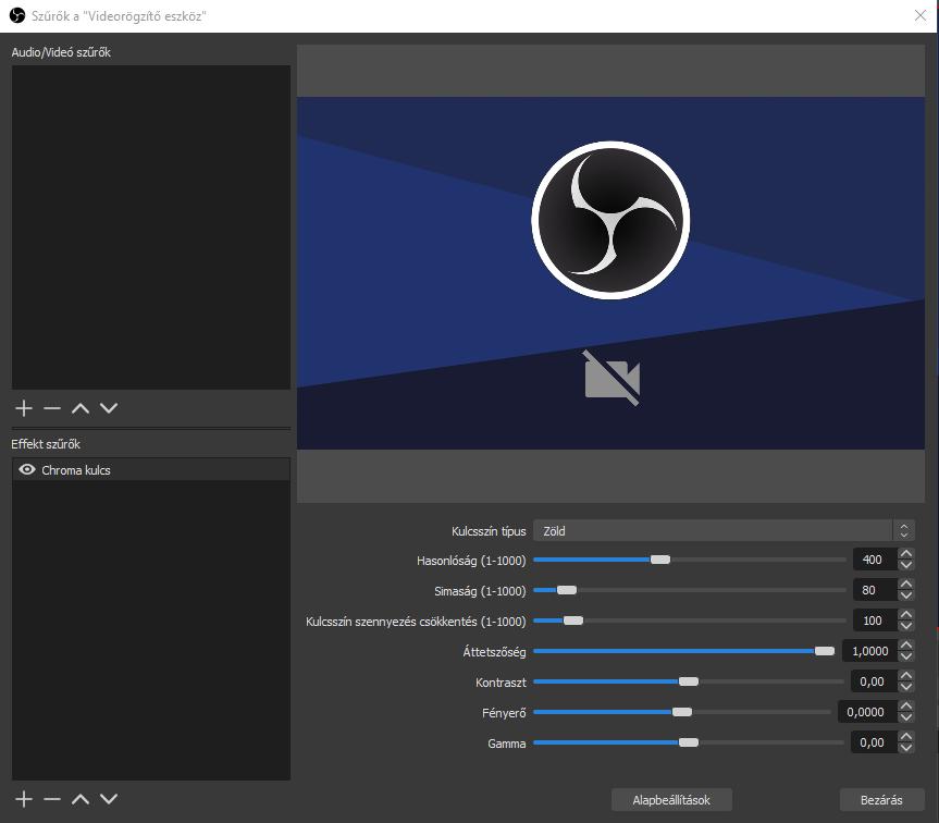 Chroma key hozzáadása az OBS Studio-hoz