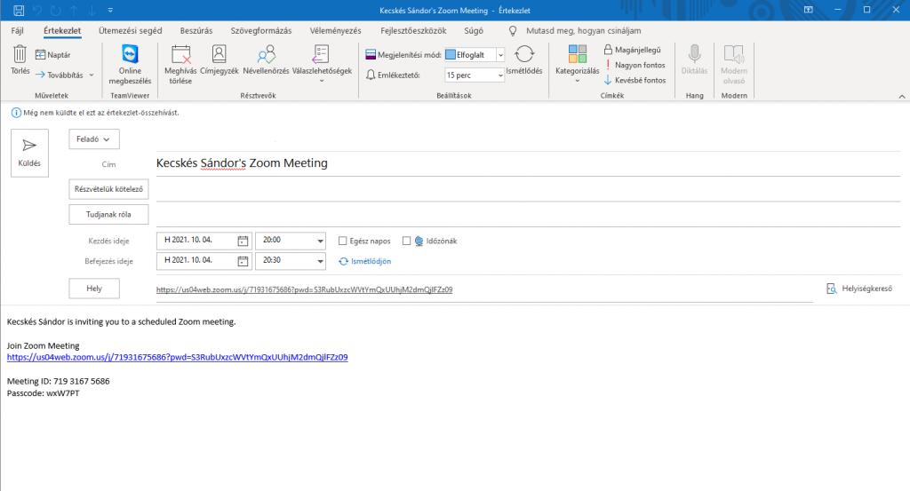 Outlook Zoom megbeszélés meghívó küldése