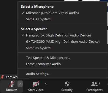 Zoom mikrofon beállítása