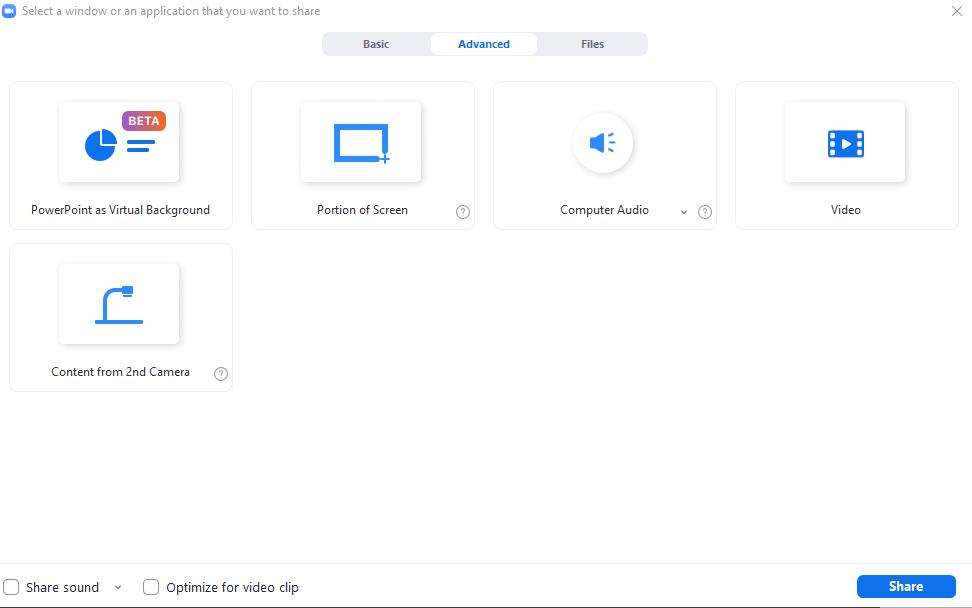 További képernyő megosztási beállítások a Zoomban