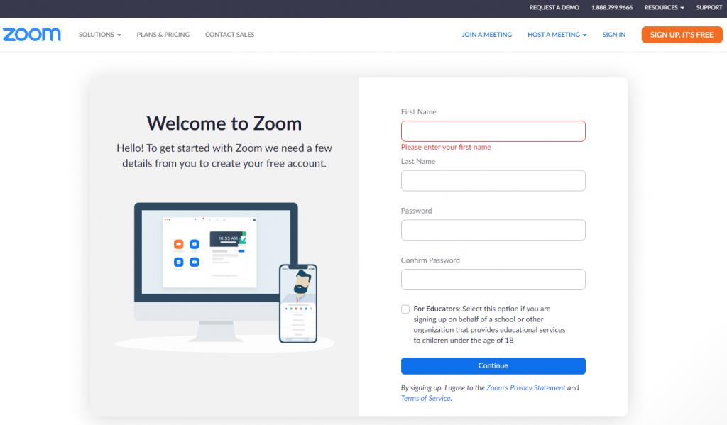 Zoom fiók felhasználói adatok megadása a létrehozáshoz